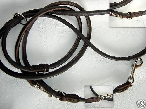Lusy011 Luxus HUNDELEINE, Runde Leine, 220cm/6mm, Leder + Braun + Verstellbar (PL.17/6/9/97)