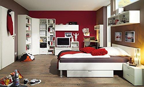 Jugendzimmer 3-tlg. in weiß aus Programm rio Art von CS Schmal, Eckkschrankkombination, Bett Liegefläche 140 x 200 cm, Nachtschrank B: ca. 44 cm