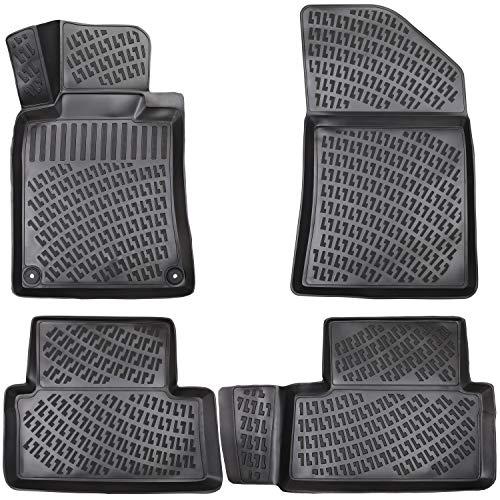 Elmasline Lot de tapis en caoutchouc design 3D pour Peugeot 508 (I) 2010-2018   Bordure extra haute de 5 cm.