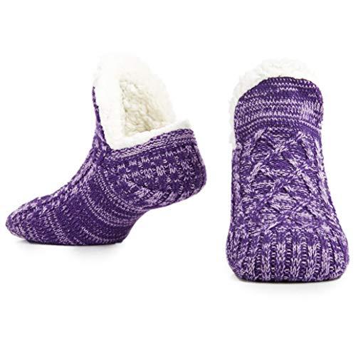 CityComfort Slipper Fluffy Socken für Frauen Männer Wärme Halten Socke Gestrickte Socken Wolle Sherpa Fuzzy Bett Hausschuhe Größe 5-8 Rutschfeste (Zweifarbiges Lila)