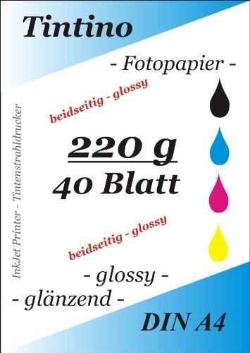 2 seitig glaenzend - double side glossy - 40 Blatt Fotopapier Photopapier DIN A4 220g/qm - beidseitig glossy glaenzend bedruckbar - sofort trocken - wasserfest - hochweiß - sehr hohe Farbbrillianz fuer InkJet - Tintenstrahl Drucker