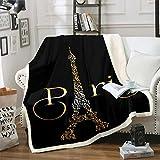 Feelyou Eiffel Tower Fleece Blankets Paris Fuzzy Sherpa Throw Blanket for Girls Adults Soft Cozy Warm Fluffy Plush Blanket 50'X60' Black Golden