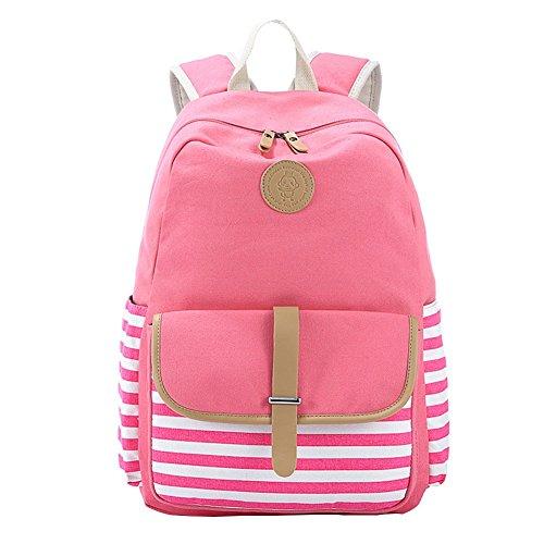Moollyfox Unisexe À rayures Cartable Sac à dos Poids léger en toile mignon Sac de voyage Pour les étudiants Filles Garçons Pink