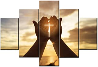 Christian Pictures for Wall Crosses Decor Catholic Easter Lent Mind Pray Paintings 5 Pcs/Multi Panel Canvas Artwork Home Decor for Living Room Framed Ready to Hang Posters and Prints(60''Wx40''H)