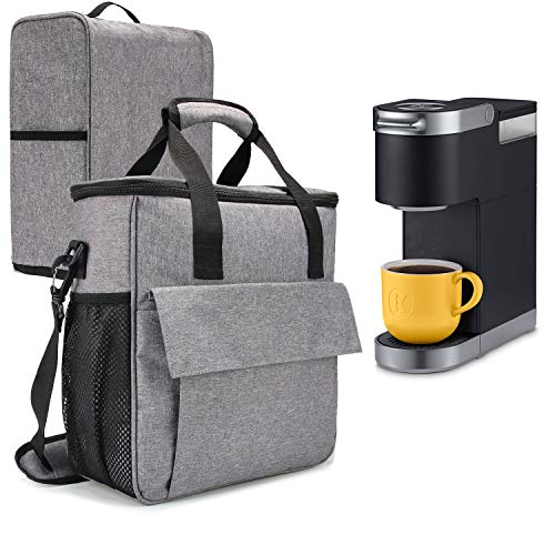 VOSDANS Travel Coffee Maker Carry Bag With a Cover Travel Case for Keurig KMini or Keurig KMini Plus Coffee Maker or Coffee Pod or Keurig Travel Mug Gray (Bag and Cover Only Patent Design