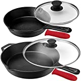 Pre-Seasoned Cast Iron Skillet Set (8-Inch and 12-Inch) with Glass Lids - Oven...