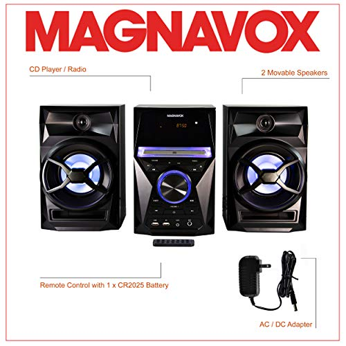 Magnavox MM441 3-Piece CD Shelf System with Digital PLL FM Stereo Radio, Bluetooth Wireless Technology, and Remote Control in Black   Blue Colored Speaker Lights   LED Display   AUX Port Compatible  
