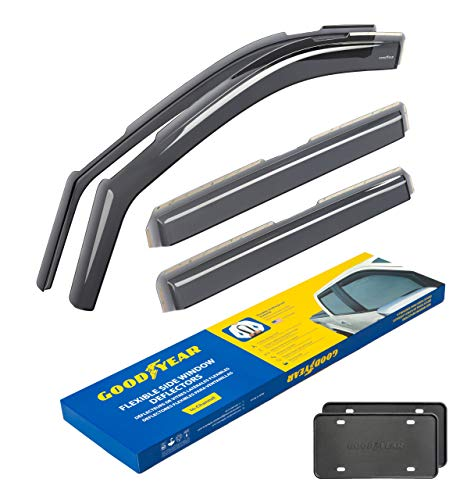 Goodyear Shatterproof in-Channel Window Deflectors for Trucks Chevrolet (Chevy) Silverado 2019-2020 Crew Cab, Rain Guards, Window Visors for Cars, Vent Deflector, Truck Accessories, 4 pcs- GY003415LP