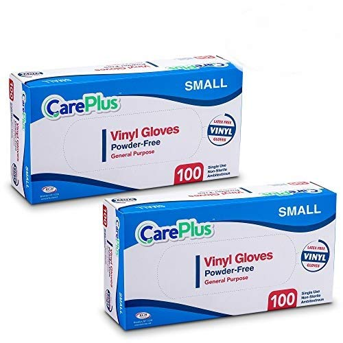 [200 Count] Care Plus Disposable Plastic Vinyl Clear Small Size Gloves, Allergy, Latex And Powder Free, Great For Home Kitchen Or Office Cleaning, Cooking, 2 Boxes