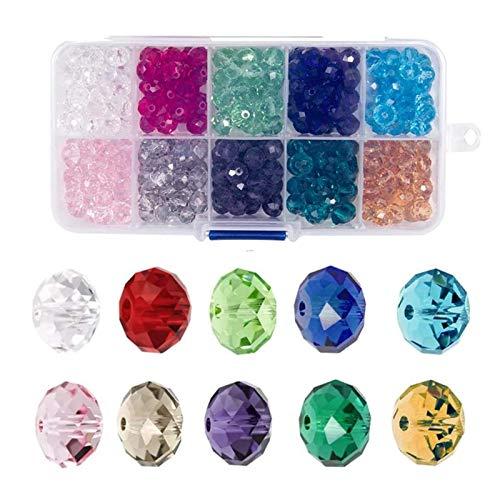 Dulau 500 Pezzi 6 mm Perline di Vetro Cristallo, Perline Sfaccettate Taglio Briolette, Perline Distanziali Rotonde a Goccia in Vetro Trasparente per Bracciali, Collane, Realizzare Gioielli Fai da Te