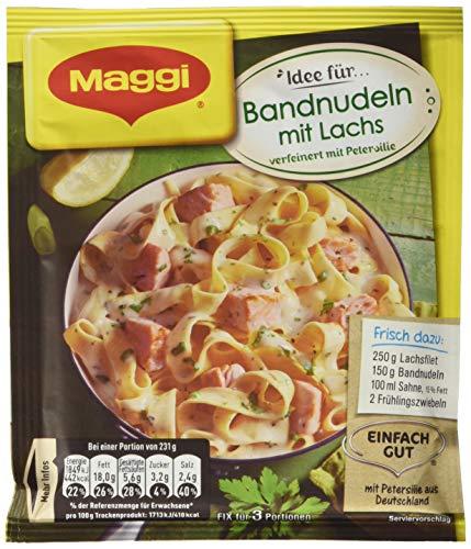 Maggi fix & frisch, Bandnudeln mit Lachs, 40 g Beutel, ergibt 3 Portionen, 18-er Pack