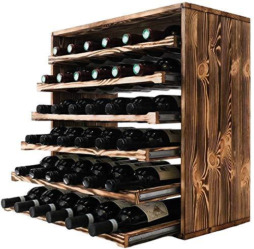 GLYYR Botelleros Estante de Vino por Caverack - Almacenaje para Botellas de Vino en un Estante de Vino Hecho en Madera (Pino Quemado, 36 Botellas)
