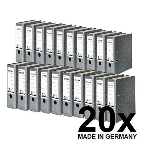 Original Falken 20er Pack Recycling-Ordner Wolkenmarmor. Made in Germany. 8 cm breit DIN A4 grauer Rücken Ringordner Aktenordner Briefordner Büroordner Pappordner CO2-Neutral Blauer Engel