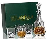 LANFULA Jarra y Vasos de Whisky, 750 ml Decantador con 4 Copas de Whisky Cristal Sin Plomo 300 ml,Hermosa Caja de Regalo, 5 Piezas