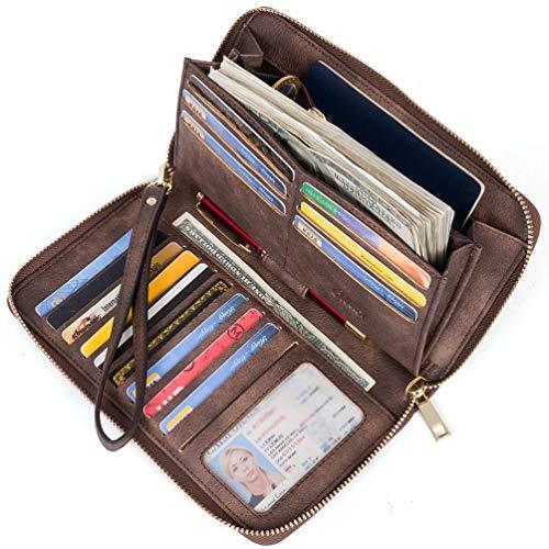 Geldbörse Damen Leder Gross Frauen Clutch Portemonnaie Groß Geldbeutel Lang Portmonee mit 15 Kartenfächer Braun