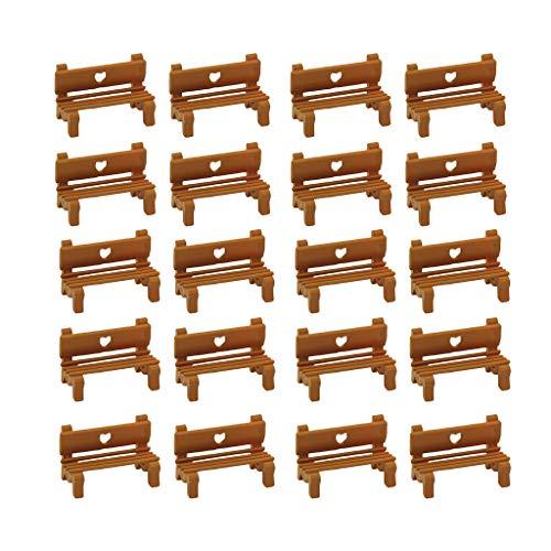 lahomia 20 Paquetes IH57-211 Banco de Parque Micro Arena Escena Natural Accesorios Decorativos Accs - 1: 100 Madera