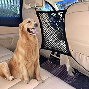 FCILY Car Dog Barrier, Pet Barrier Dog Net for Car Between Seats, Back Seat Net Organizer, Storage Bag for Cars, SUVs, Trucks, Drive Safely with Children & Pets