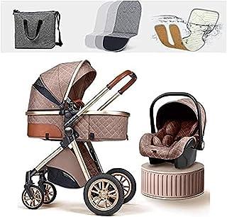 YQLWX Lätta barnvagnar 3 i 1 Babyvagn, □ Fällbar barnvagn Barnvagn, nyfödd barnvagn med kylplatta regnskydd Footmuff myggn...