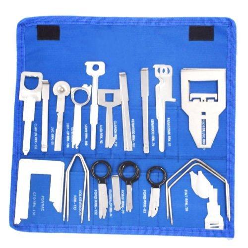 Ting Ao Lot de 38 clés de démontage stéréo pour lecteur CD et radio pour véhicules VW, Ford, Benz, Audi, Pioneer JVC, Kenwood (BLUE)