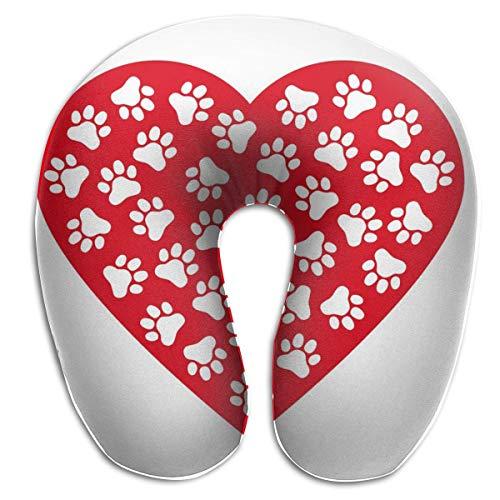 Almohada para el Cuello Estampado de Pata de Perro Hecho de corazón Rojo San Valentín Almohada de Viaje en Forma de U Diseño ergonómico Contorneado Funda Lavable