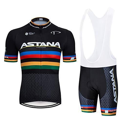 BIKETOPB Maglia Ciclismo Uomo Manica Corta Estiva, Completo Abbigliamento Ciclismo con Pantaloncini Corti Imbottiti in Gel (XXXXXL, ASNABLKM)