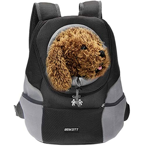 BEIKOTT Cat Backpack Carriers, Dog Cat Front Carrier Backpack for Middle Cats/Dogs/Puppy/Teddy/Bunny, Ventilate Head Out Design Pet Backpack for Travel, Hiking, Outdoor(Black)