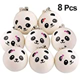 KUUQA 8 Pieces 1.57' Slow Rising Mini Panda Scented Toys Cute Charms Phone Key Chain Straps Kids Toy Gift Party Favors(Style Random)