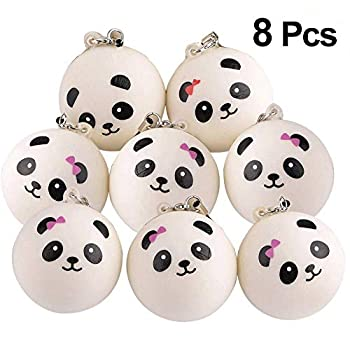 KUUQA 8 Pieces 1.57  Slow Rising Mini Panda Scented Toys Cute Charms Phone Key Chain Straps Kids Toy Gift Party Favors Style Random