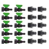 10x Mini Valvola 3/4 F con Portagomma+Olivone 3/4 M, Derivazione con Guarnizione+Maschio, Made in Italy|16 mm| (16mm)