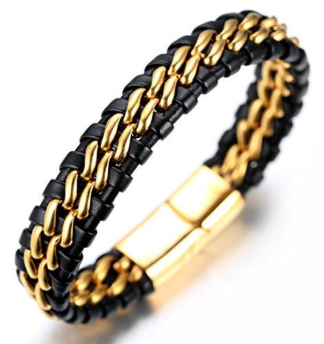 Halukakah  Honra  Pulsera Hombre Cuero Genuina Doble Cadena Titanio Acero Inoxidable Oro Cierre Magnético 8.46'(21.5cm) con CajaDeRegaloGRATIS