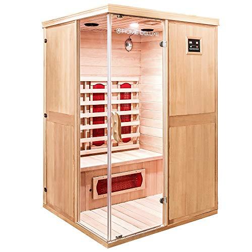 Home Deluxe – Infrarotkabine – California L – Keramikstrahler – Holz: Hemlocktanne - Maße: 130 x 120 x 195 cm – inkl. vielen Extras und komplettem Zubehör