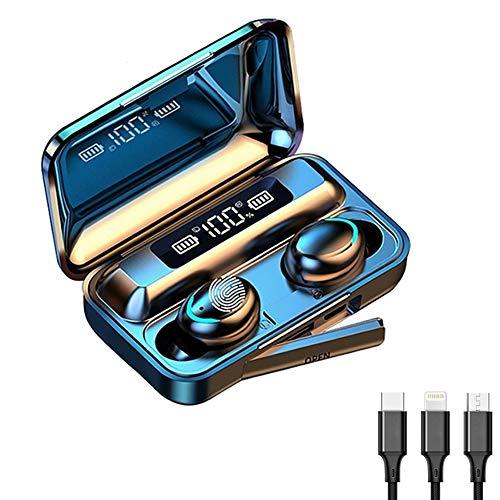 GPISEN Auriculares Bluetooth 5.0,Impermeable IPX7,Sonido Estéreo 9D,Pantalla Digital LED Inteligente,2000mAh Cámara de Carga,3 en 1 Multi Cable de Carga Compatible con Phone Samsung Huawei