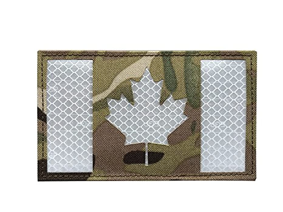 3x5 Large Multicam Reflective Canada Flag Patch Tactical Vest Patch Morale Fastener Patch Hook/Loop (5