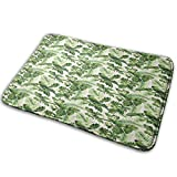 Non-Slip Soft Bath Mat,Exotic Tropic Palm Leaves Breadfruits Plumeria Flowers and Parrots,Micro Personalized Home Decor Bathroom Floor Rug,29.5