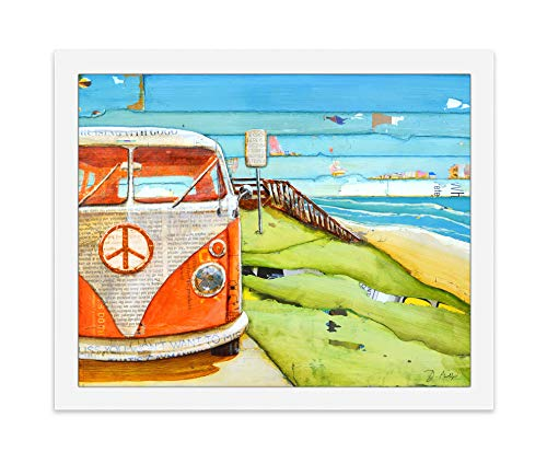 Orange Crush Vw Volkswagen Bus Van - Danny Phillips art print, UNFRAMED, Vintage retro nautical coastal beach and home decor painting poster, 8x10 inches
