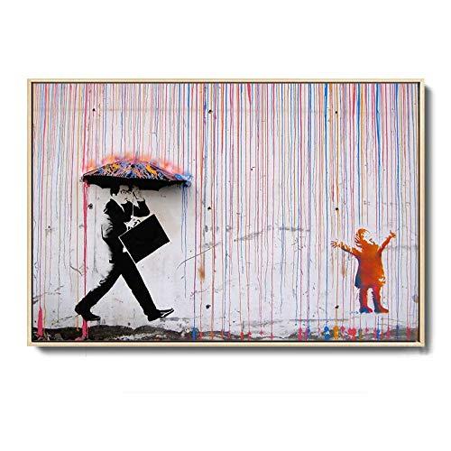 HYY-YY Abstrakter Charakter Regenschirm Banksy Graffiti Kunst Leinwand Wandkunst Malerei Plakate Drucke Living Bedroom Home Decor 60 x 120 cm (23,6