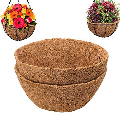 Cesto sospeso in fibra di cocco di ricambio, 100% naturale, rotondo, in fibra di cocco per fioriere da appendere, per fiori/verdure (2 pezzi-25,4 cm)
