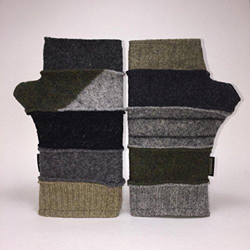 Baabaazuzu Black, Gray & Beige Multi-Colored Women's Upcycled Wool Fingerless Gloves