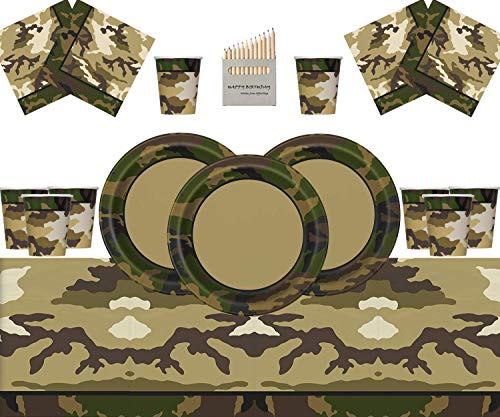 Suministros de Fiesta de Camuflaje Militar Decoraciones de Fiesta del ejército Juego de vajilla de Fiesta de Camuflaje - Sirve 16