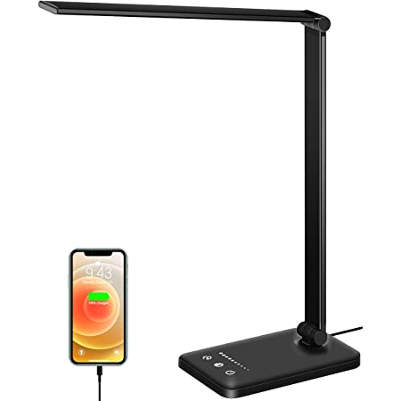 Lampe de Bureau LED, Lampes de Table Dimmable 10 Niveaux de Luminosité 5 Modes de Couleur, Contrôle Tactile Protection des Yeux, Avec Port USB/Fonction Minuterie Pliable/Rotative