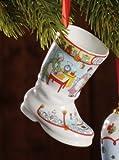 Hutschenreuther Weihnachten Porzellanstiefel, Weihnachtsstiefel, Christbaumanhänger, Küche, Höhe: 7.5 cm, 27830