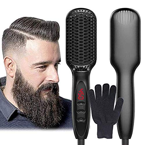 Beard-Straightener-for-Men-YUECHAO-2019-New-Lonic-Beard-Straightener-Comb-Electrical-Heated-Hair-Straightening-Brush-with-Faster-Heating-PTC-Ceramic-Technology-Auto-Temperature-Lock-For-Home-Trave