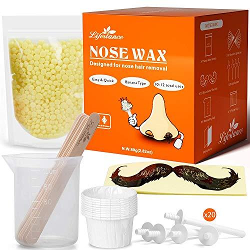 LifestanceNasenhaar Wachs Setfür Männer-Nasenwachs Kitmit 80g Nasen Wachs-Schnell,Einfache,Schmerzfrei Nasen Wax Set(10-20 mal für die Verwendung)