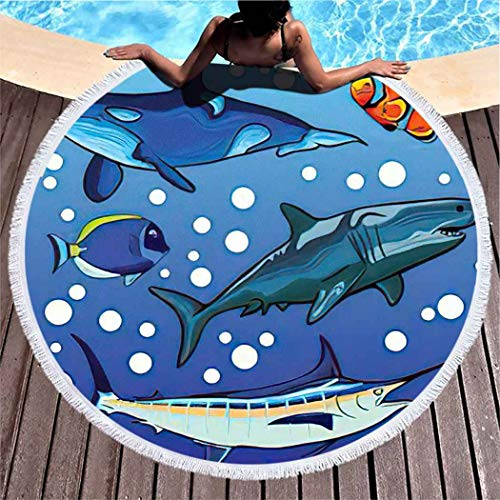 Aofire Narwhal Round Beach Towel Oversized Sand Free Animal Sea Marlin Fish Whale Orca Clownfish Botana Shark Pool Beach Towel for Adults Microfiber Throw Beach Blanket, 39 Inch