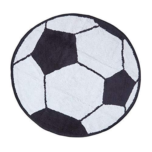 Homescapes Kinderteppich Fußball Bunter Teppich, Vorleger 80 cm Durchmesser. Farben: Schwarz und Weiß. Geeignet für Badezimmer oder Kinderzimmer.