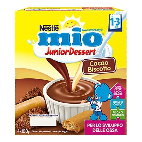 Nestlé Mio Merenda al Latte Cacao e Biscotto, per Bambini da 1 a 3 Anni, Confezione da  4 x 100 g