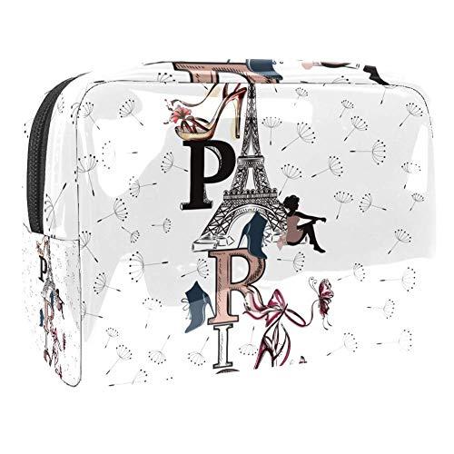 Bolsa de maquillaje portátil con cremallera de viaje Neceser para las mujeres Práctico almacenamiento cosmético bolsa Eiffel Torre Zapatos niña