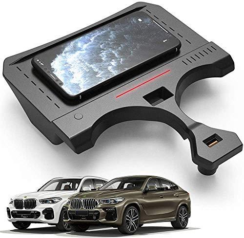 WY-CAR Cargador Inalámbrico Automóvil para BMW X5 2019 2020 2021, 15W Soporte Teléfono de Carga Rápida, Cargador Inalámbrico Rápido, para iPhone 12/11/11Pro/XS/XR/8Plus Samsung Galaxy S20 S10 S9/8
