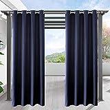 DAMAI Cortinas Opacas Exterior Impermeable Cortinas Terraza con Ojal para El Porche Delantero Pérgola Cabaña Patio 132X274cm,Navy Blue