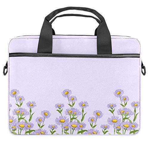 Inhomer Laptop Messenger Shoulder Bag Purple Wildflowers Notebook Sleeve Carrying Briefcase Handbag Briefcase